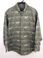 Woolrich Mens Thick Long Sleeve Flannel Shirt Size Large Deer Elk Hunting