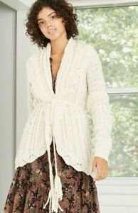 Knox Rose Womens Belted Cardigan Sweater Stone White Small