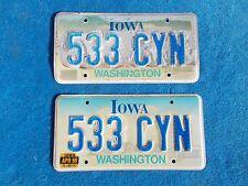 Vintage Original PR. Washington Iowa 533CYN License VEHICLE Tag Man Cave Reissue