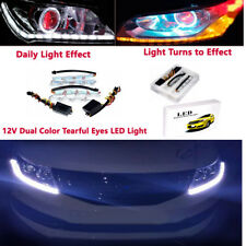 2PCS 12V Dual Color Tearful Eyes LED Turn Signal Daytime Running Lights Trig