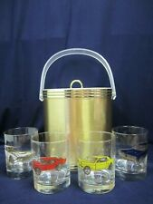 Vtg Custom Deco Ice Bucket Tumbler Set 60's Gold Classic Cars GTO Mustang TBird