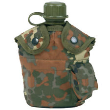 Water Bottle Canteen With Belt Holder and Cup Flecktarn Camo. Delivery