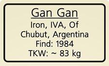 Meteorite label Gan Gan