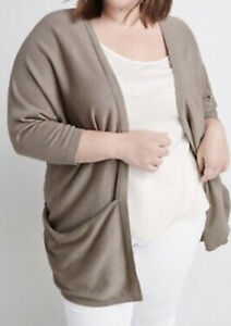 "NEW Ryllace NWT $198 Silk Blend Open ""Villa"" Kimono Cardigan Plus 2X Beige"