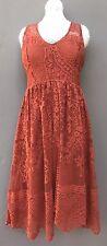 Free People BOHO Sleeveless Lace Dress Women's Size Sz 4 Casual Summer Orange