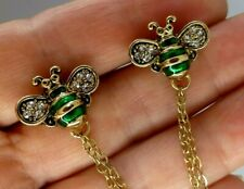 Bee brooches 2 green enamel crystal collar shawl cardigan vintage style pins