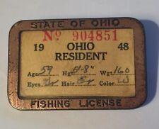 "Vintage 1948 Ohio Resident fishing license in metal holder 2 1/4"" x 1 1/2"""