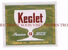 Unused 1950s Esslinger Keglet all 12oz Beer label Tavern Trove Pennsylvania