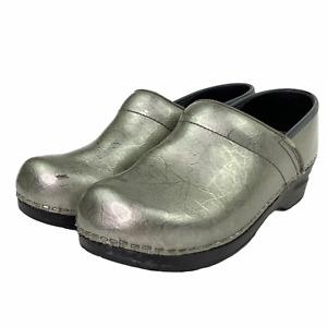 Sanita Danish Clogs Patent Marbled Silver Nurse Professional Comfort Shoe 38