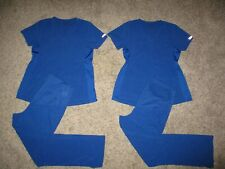 Lot (4) Med Couture Plus One Maternity Scrub Sets Pants Tops Small Blue Outfits