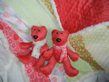 Minky Handmade Blanket Lap Quilt Throw yellow green w/ 2 matching coral bears