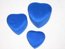 3 Nesting Thai Silk Heart Shaped Jewelry Valentine Trinket Boxes Royal Blue Mint