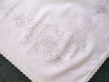 Printed tablecloth to embroider Flowers in a Manger lace edge 100% cotton CSOO48
