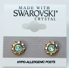 9mm Light Blue Silver Crystal Circle Rondelle Gold Earrings Made with SWAROVSKI