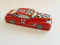 VINTAGE TIN RED SPORTS CAR Old Tin Car Storage Box Pencil Case VGOOD CONDITION