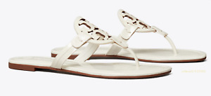 Tory Burch Miller White  Leather Flat Classic Sandals Many size