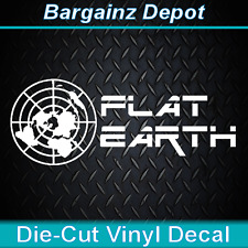 ..Vinyl Decal .. FLAT EARTH ..  Car Laptop Flat Map AWESOME Vinyl Decal Sticker