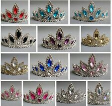 NEW Wedding Pageant Girls Teal Blue oval Rhinestone Party Tiara Haircomb Jewel