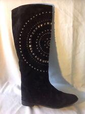 Carvela Black Knee High Suede Boots Size 38