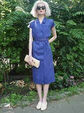 KLEID blau 36 Zweireiher durchgeknöpft 80er wie 30er stil TRUE VINTAGE dress