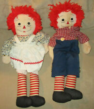 """Vintage Raggedy Ann and Andy 24"""" Dolls - Classic Set of Dolls with Cloths"""