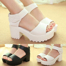 Women Flat High Wedge Sandals Ankle Strap Platform Shoes Chunky Creepers