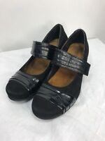 Naot Women's Isabella Black Leather  Mary Jane Wedge Heels 40 US size 9