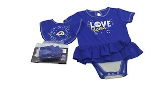Los Angeles Rams Official NFL Baby Infant Girls 3 Piece Creeper Bib & Boots Set