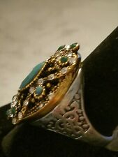 US SELLER VINTAGE STYLE green Mosaic Crystal Big STATEMENT TURKISH Ring SIZE 10