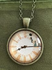 Peter Pan Wendy Silhouette Clock Glass Dome  Pendant Necklace. Non Working Clock