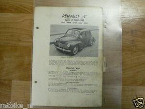 R01-RENAULT 4 TYPE R1060 EN 1062 1947-1948-1949-1950-1951 TECHNICAL INFO OLDTIME
