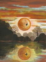 1.5x2 DOLLHOUSE MINIATURE PRINT OF PAINTING RYTA 1:12 SCALE WATERCOLOR SUNSET
