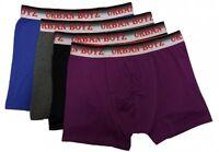 12 Pairs Mens Plain Urban Boyz Cotton Comfortable Boxer Shorts 3 Pack S,M,L,XL
