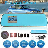 2.8'' 1080P HD Dual Lens Car DVR Rearview Mirror Dash Cam Video Recorder Camera