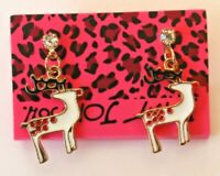 Betsey Johnson Crystal Rhinestone Enamel Reindeer Post Earrings