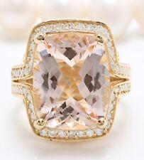 9.40 Carat Natural Morganite & Diamonds in 14K Solid Yellow Gold Women's Ring