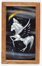 Vintage Velvet Painting Art Unicorn Wood Framed 14 X 23