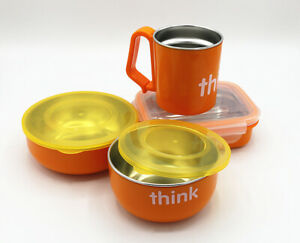 NEW Thinkbaby Complete Certified 304 Stainless Steel BPA Free feeding set ORANGE