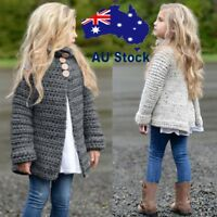 Child Kids Girl Knitted Sweater Long Sleeve Cardigan Coat Jacket Outwear A