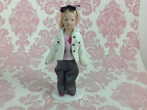Dollhouse Miniature Porcelain Little Blondie Girl Poseable Doll with Stand 1:12