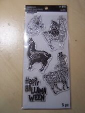 RECOLLECTIONS - HALLOWEEN - CLEAR STAMPS - LLAMA/HAPPY HALLAMAWEEN - 5 PIECES