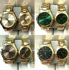 Michael Kors MK GOLD slim runway gold/green/brown/black dial Ladies womens watch