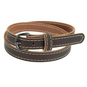 """Women's Buffalo Leather Belt for Jeans_1"""" wide_Matte Black Finish Buckle"""