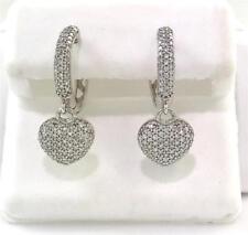 14k White Gold 0.68 Carat Pave Diamond Puffed Heart Dangle Huggie Hoop Earrings