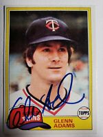 1981 Topps Glenn Adams Auto Autograph Card Twins Signed #18