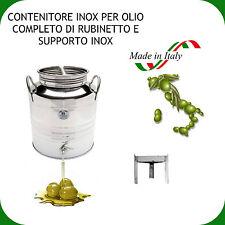 CONTENITORE INOX 18/10 LT.20 PER OLIO COMPLETO DI RUBINETTO NOX E SUPPORTO INOX