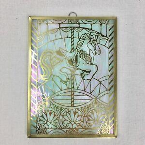 "Iridescent Slag Glass Carousel Horse Sun Catcher Hanging Decor 4x5"" Pastel Gold"
