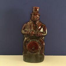 Antique Staffordshire Figure Rockingham/Treacle Man on barrel Flask Bottle c1850