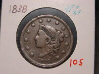 1838 CORONET HEAD LARGE CENT VF + XF NICE COMBINED SHIPPING
