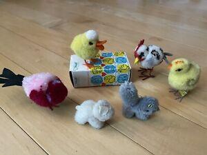Vintage STEIFF wooly Pom Poms, ❤️ Cat Lamb Hen Chick Duck Bird ❤️ w Vintage BOX!